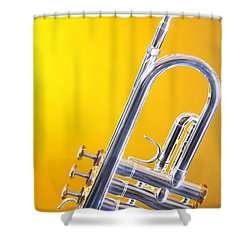 Silver Trumpet Isolated On Yellow Shower Curtain by M K  Miller