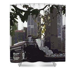 Singapore's Merlion Shower Curtain by Juergen Weiss