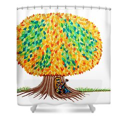 Singing Under The Peace Tree Shower Curtain by Nick Gustafson