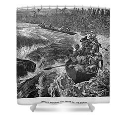 Sir Henry Morton Stanley (1841-1904). English Journalist And Explorer; Wood Engraving, 1880 Shower Curtain by Granger