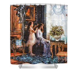 Sisters Shower Curtain by Mo T