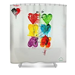 Shower Curtain featuring the painting Six Of Hearts 2-52  2nd Series  by Cliff Spohn