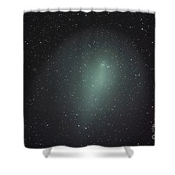 Size Of Comet Holmes In Comparison Shower Curtain by Rolf Geissinger