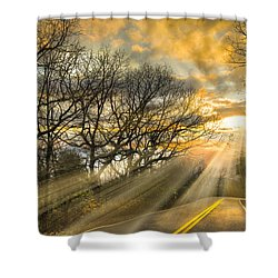 Skeletons At Sunset Shower Curtain by Debra and Dave Vanderlaan