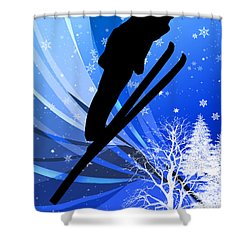 Ski Jumping In The Snow Shower Curtain by Elaine Plesser