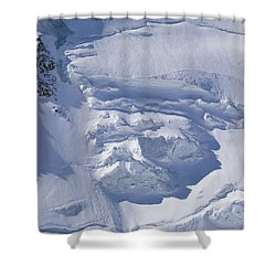 Skiers Cross The Aletsch Glacier En Shower Curtain by Axiom Photographic