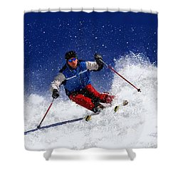 Skiing Down The Mountain Shower Curtain by Elaine Plesser