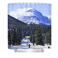Skiing In Mountains Shower Curtain by Elena Elisseeva
