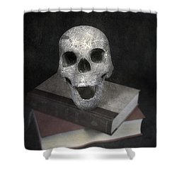 Skull On Books Shower Curtain by Joana Kruse