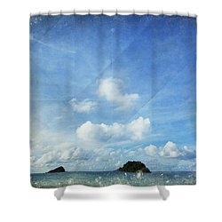 Sky And Cloud On Old Paper Shower Curtain by Setsiri Silapasuwanchai