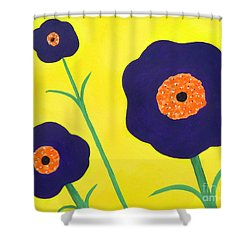 Shower Curtain featuring the painting Sky High Flowers by Alys Caviness-Gober