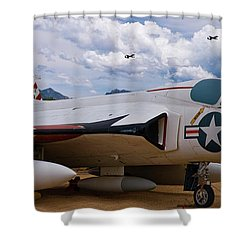 Skyray And Hawgs Shower Curtain by Tim Mulina