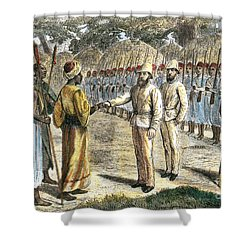 Slave Trader Surrenders To Baker, 1869 Shower Curtain by Photo Researchers