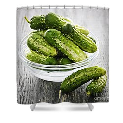 Small Cucumbers In Bowl Shower Curtain by Elena Elisseeva