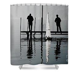 Small Sailing Boat Shower Curtain by Mats Silvan