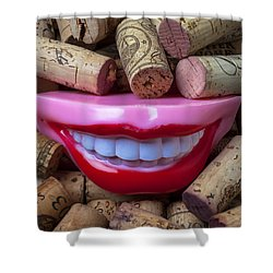 Smile Among Wine Corks Shower Curtain by Garry Gay