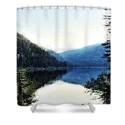 Smoke Behind Marshal Lake Shower Curtain by Janie Johnson