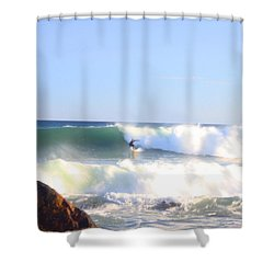 Snake Hole Surfer Shower Curtain