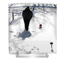 Shower Curtain featuring the photograph Snow Buddies by Pamela Hyde Wilson
