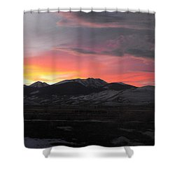 Snow Covered Mountain Sunset Shower Curtain by Adam Cornelison