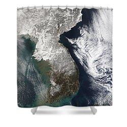 Snow In Korea Shower Curtain by Stocktrek Images