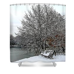 Shower Curtain featuring the photograph Snow In Poole Park by Katy Mei