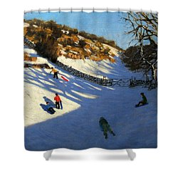 Snow In The Valley Shower Curtain by Andrew Macara