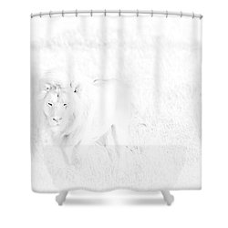 Snow Lion Shower Curtain by Darcy Michaelchuk