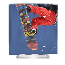 Snowboard Jumping On Vogel Mountain Shower Curtain by Ian Middleton