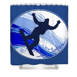 Snowboarding And Snowflakes Shower Curtain by Elaine Plesser