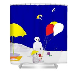Snowman Family Holiday Shower Curtain by Barbara Moignard