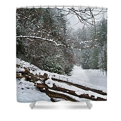 Snowy Fence Shower Curtain by Debra and Dave Vanderlaan