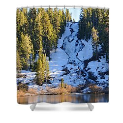 Shower Curtain featuring the photograph Snowy Heart Falls by Lynn Bauer