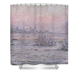 Snowy Landscape At Twilight Shower Curtain by Claude Monet