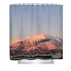 Snowy Mountain At Sunset Shower Curtain by Adam Cornelison