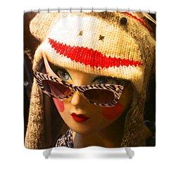 Sock Monkey Zebra Glasses Shower Curtain by Kym Backland