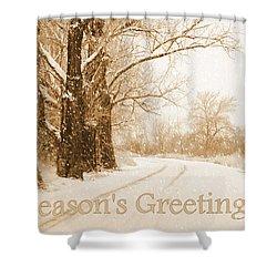 Soft Sepia Season's Greetings Card Shower Curtain by Carol Groenen