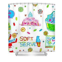 Shower Curtain featuring the painting Soft Serve by Beth Saffer