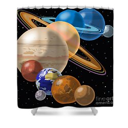 Solar System Shower Curtain by Mark Giles and Photo Researchers