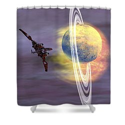 Solar Winds Hit A Ringed Planet Shower Curtain by Corey Ford