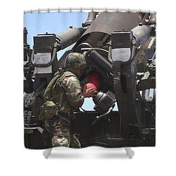 Soldier Loads A Charge Round Shower Curtain by Stocktrek Images
