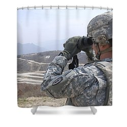 Soldier Observes An Adjust Fire Mission Shower Curtain by Stocktrek Images