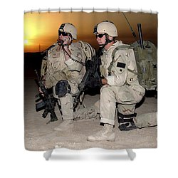 Soldiers Call In Air Support Shower Curtain by Stocktrek Images