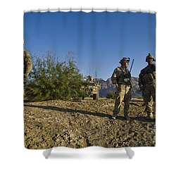 Soldiers Discuss A Strategic Plan Shower Curtain by Stocktrek Images