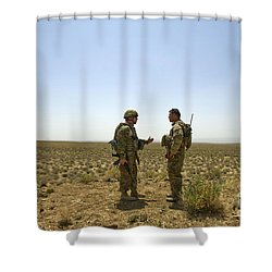 Soldiers Discuss, Drop Zone Shower Curtain by Stocktrek Images