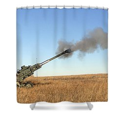 Soldiers Fire A 155mm M777 Lightweight Shower Curtain by Stocktrek Images