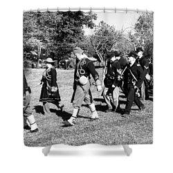 Soldiers March Black And White IIi Shower Curtain by LeeAnn McLaneGoetz McLaneGoetzStudioLLCcom