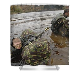 Soldiers Participate In A River Shower Curtain by Andrew Chittock