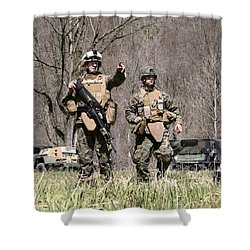 Soldiers Perform A Site Survey In Camp Shower Curtain by Stocktrek Images