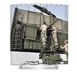 Soldiers Set Up A Tps-75 Radar Shower Curtain by Stocktrek Images